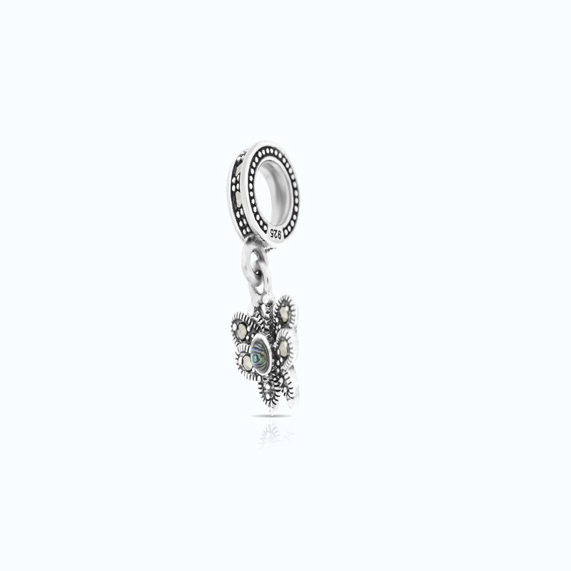 Sterling Silver 925 Charm Embedded With Natural Blue Shell And Marcasite Stones