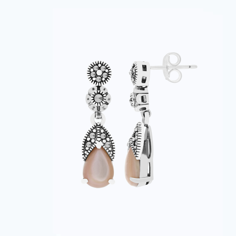 Sterling Silver 925 Set Embedded With Natural Pink Shell And Marcasite Stones