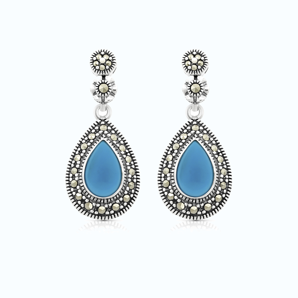 Sterling Silver 925 Set Embedded With Natural Processed Turquoise And Marcasite Stones