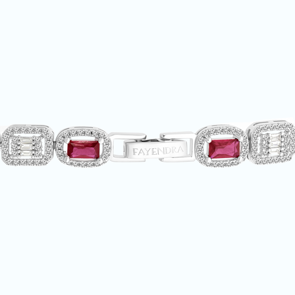 Sterling Silver 925 Bracelet Rhodium Plated Embedded With Multi stones