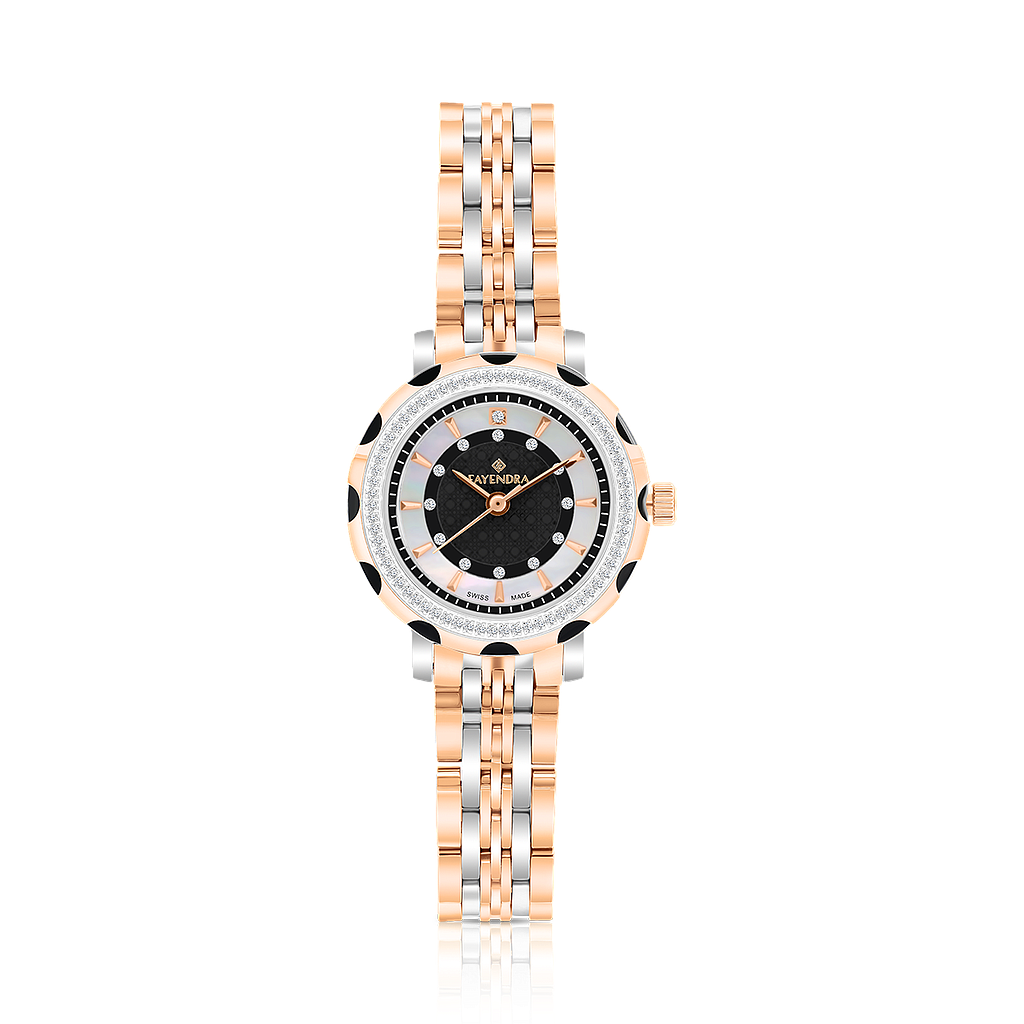 Stainless Steel 316L Watch Rhodium And Rose Plated, BLACK Dial