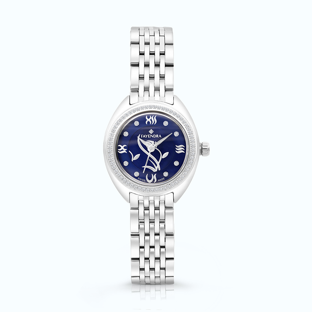 Stainless Steel 316L Watch, Rhodium Plated, BLUE Dial