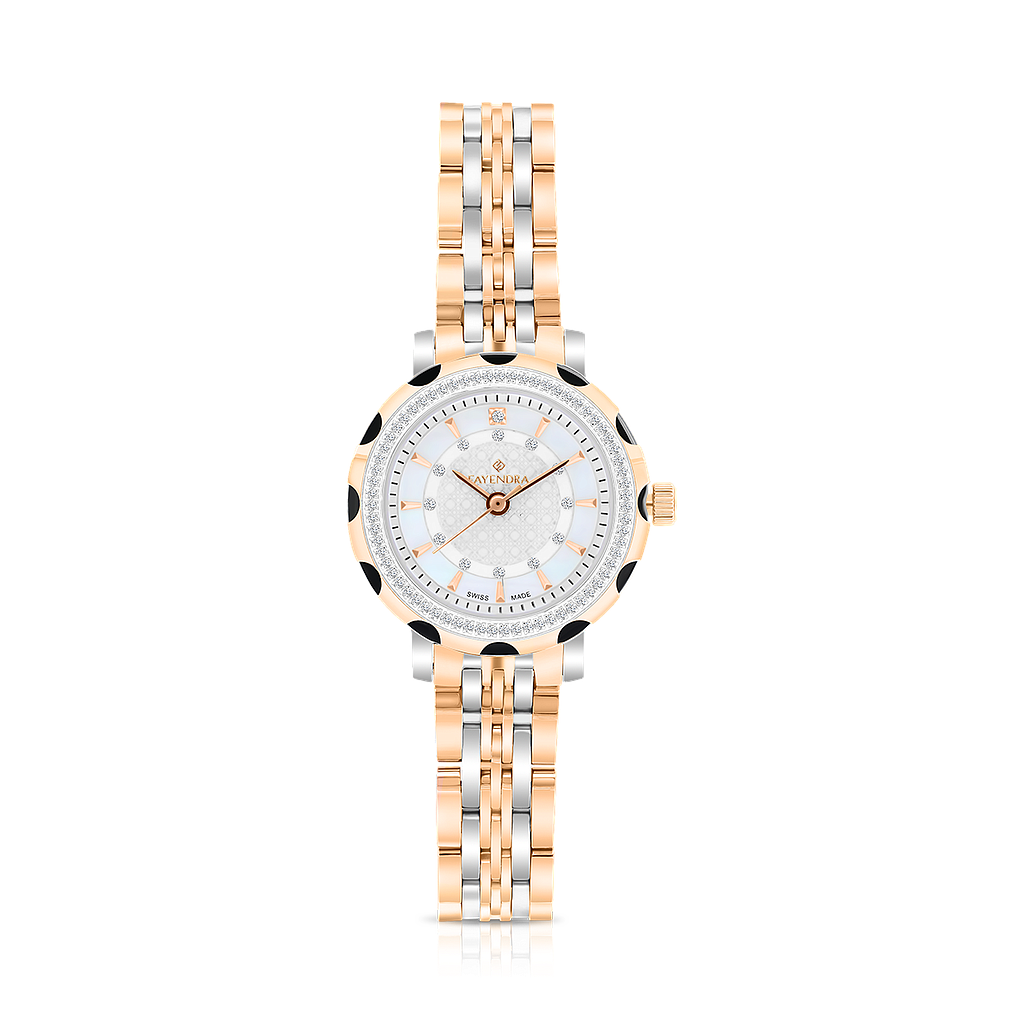 Stainless Steel 316L Watch Rhodium And Rose Plated MOP Dial