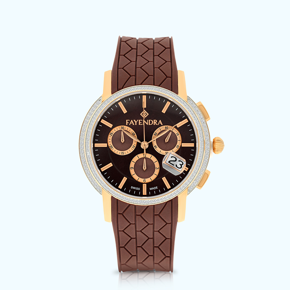 Stainless Steel Watch Rhodium And Rose Plated, BROWN Dial