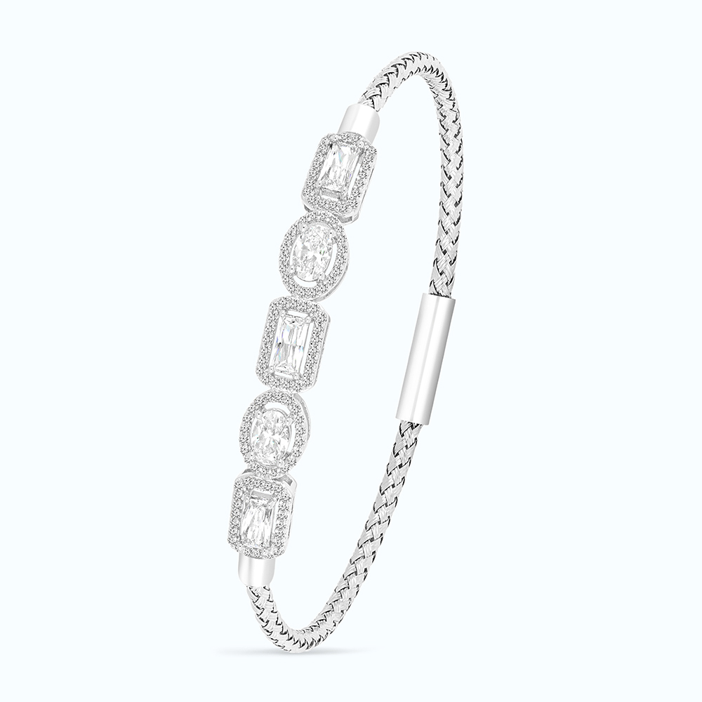 Sterling Silver 925 Bangle Rhodium Plated,Yellow Zircon