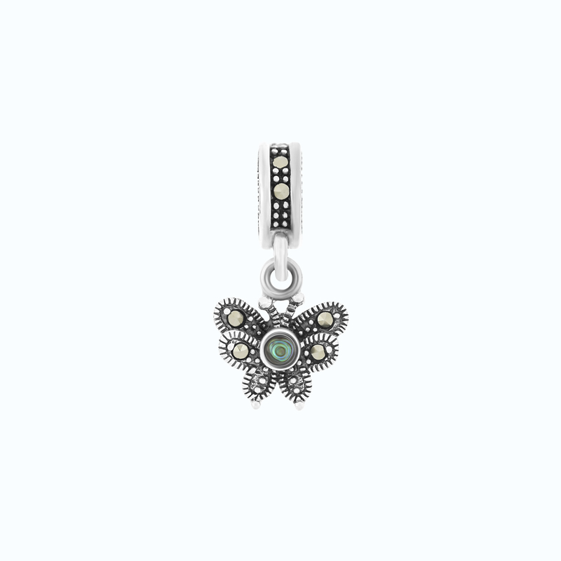 Sterling Silver 925 Charm Natural Blue Shell Marcasite Stones