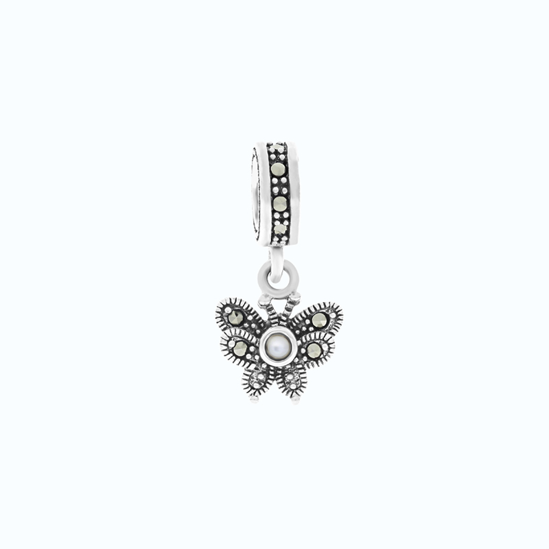 Sterling Silver 925 Charm Natural White Shell Marcasite Stones