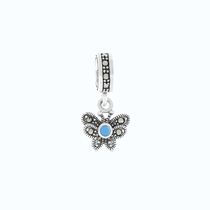 Sterling Silver 925 Charm Natural Processed Turquoise Marcasite Stones