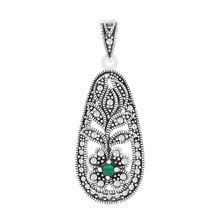 Sterling Silver 925 Pendant Natural Green Agate Marcasite Stones