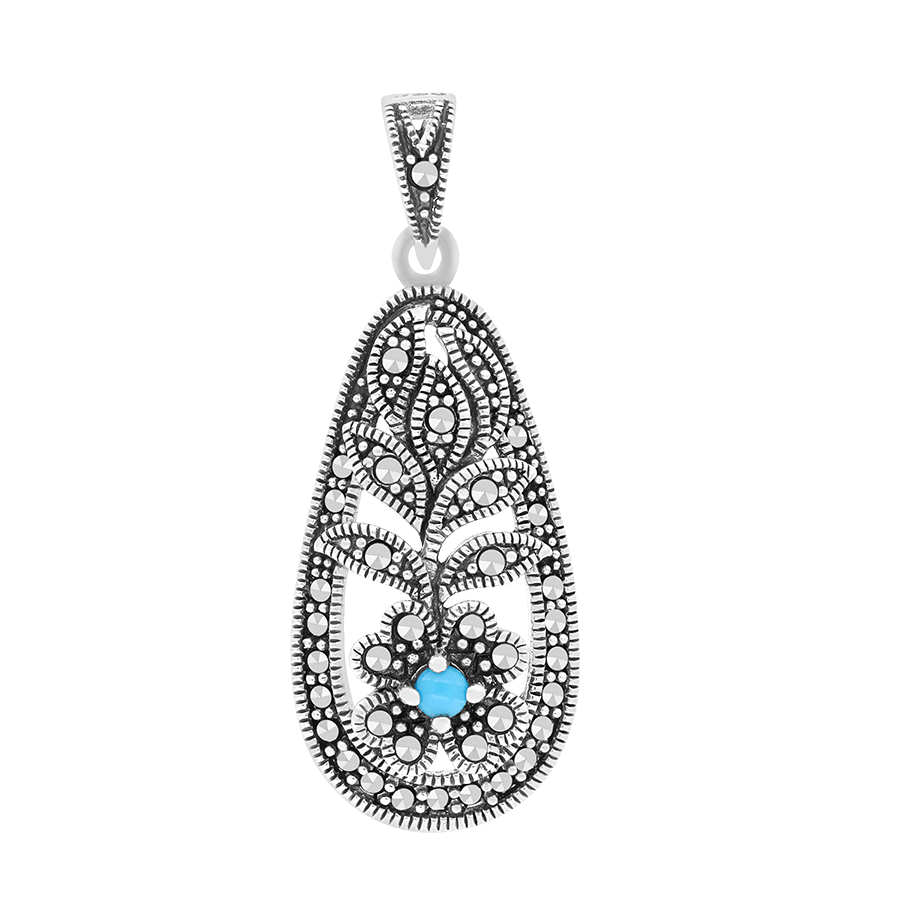Sterling Silver 925 Pendant Natural Processed Turquoise Marcasite Stones