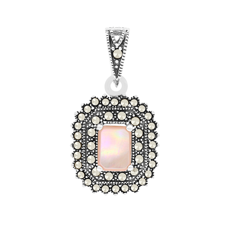 Sterling Silver 925 Pendant Natural Pink Shell Marcasite Stones