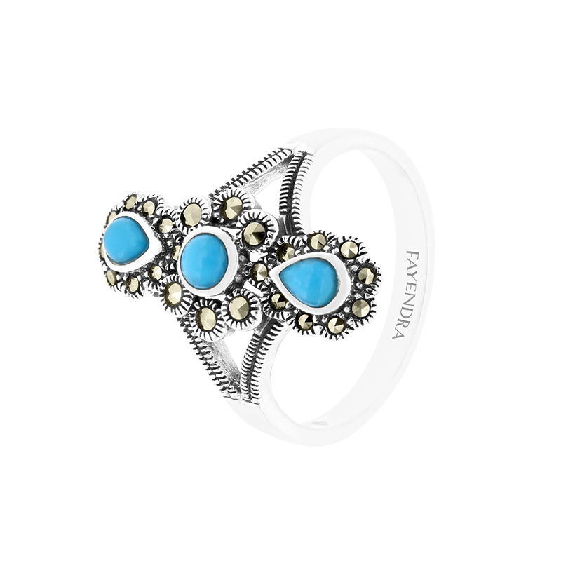 Sterling Silver 925 Ring Natural Processed Turquoise Marcasite Stones