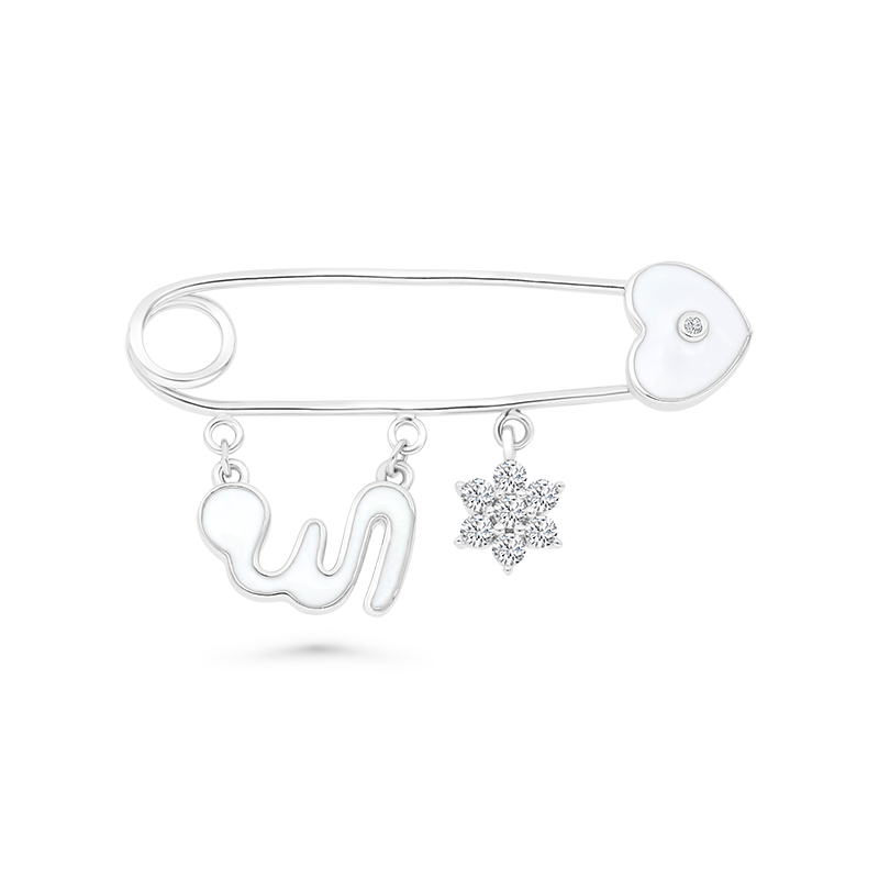 Sterling Silver 925 Baby brooch Rhodium Plated