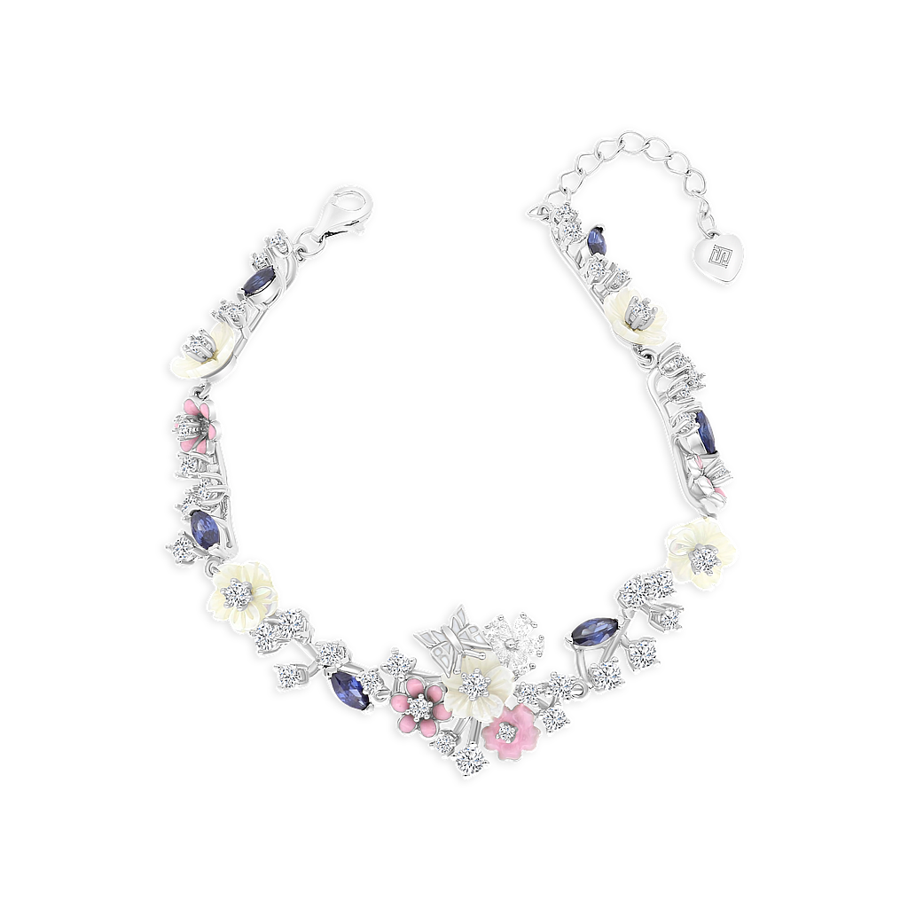 Sterling Silver 925 Bracelet Rhodium Plated,Natural White Shell,Tanzanite,Enamel