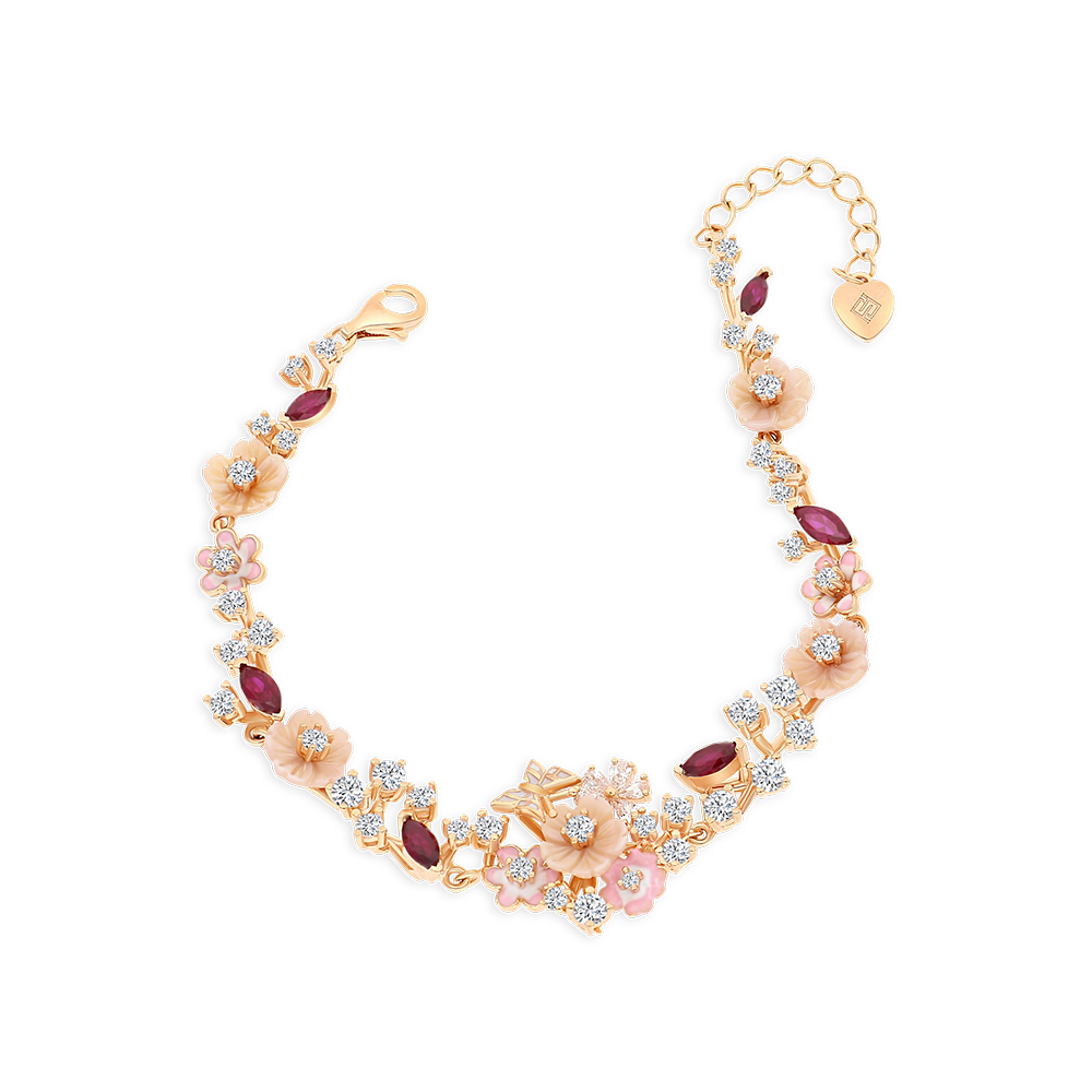 Sterling Silver 925 Bracelet Rose Gold Plated Embedded With Natural pink Shell ,Ruby Corundum and Enamel