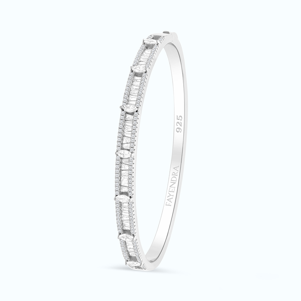 Sterling Silver 925 Bangle Rhodium Plated