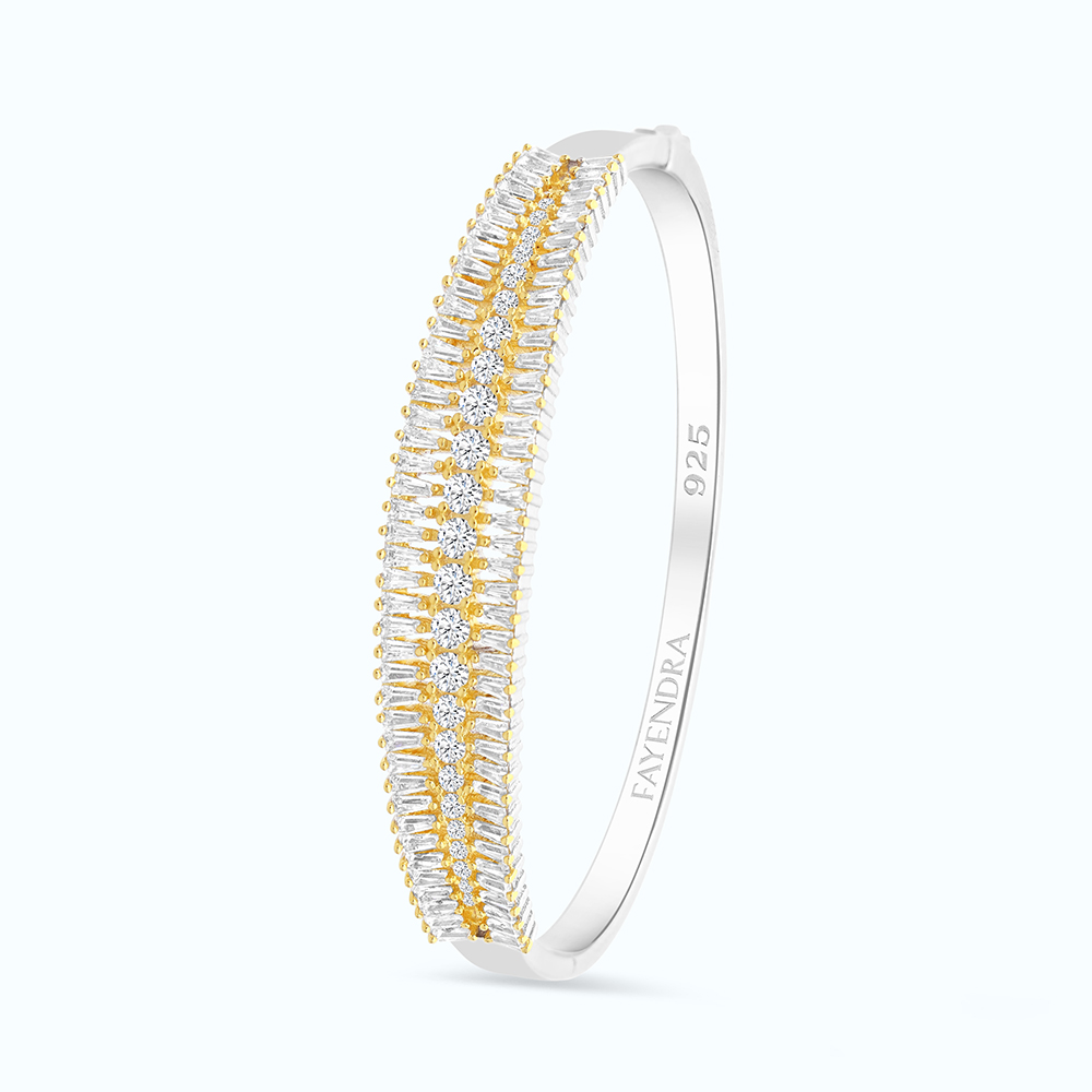 Sterling Silver 925 Bangle Rhodium And Gold Plated