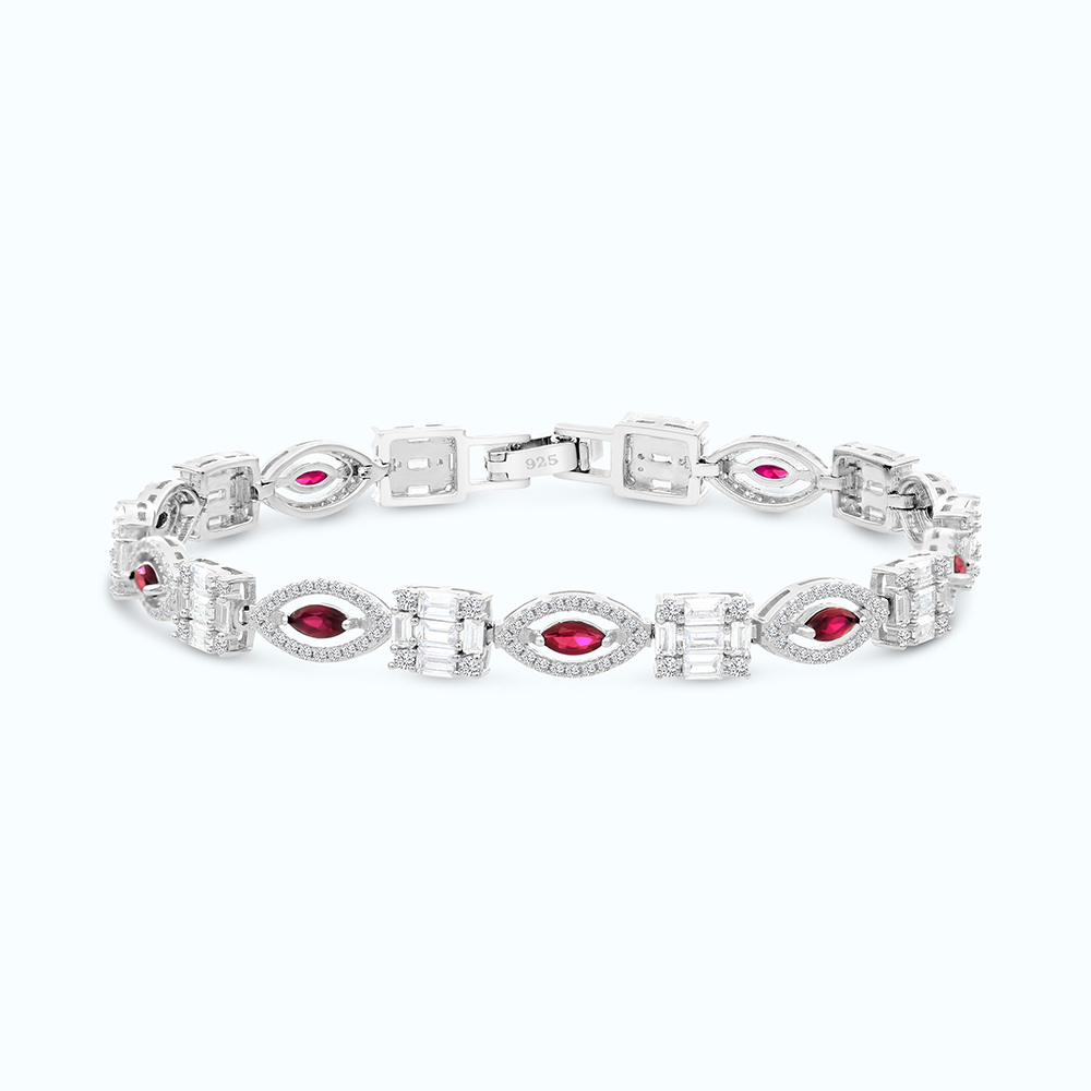 Sterling Silver 925 Bracelet Rhodium Plated,Ruby Corundum
