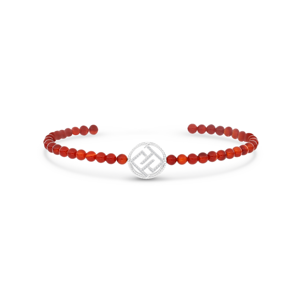 Sterling Silver 925 Bracelet Rhodium Plated  Embedded With Natural Red agate - LOGO