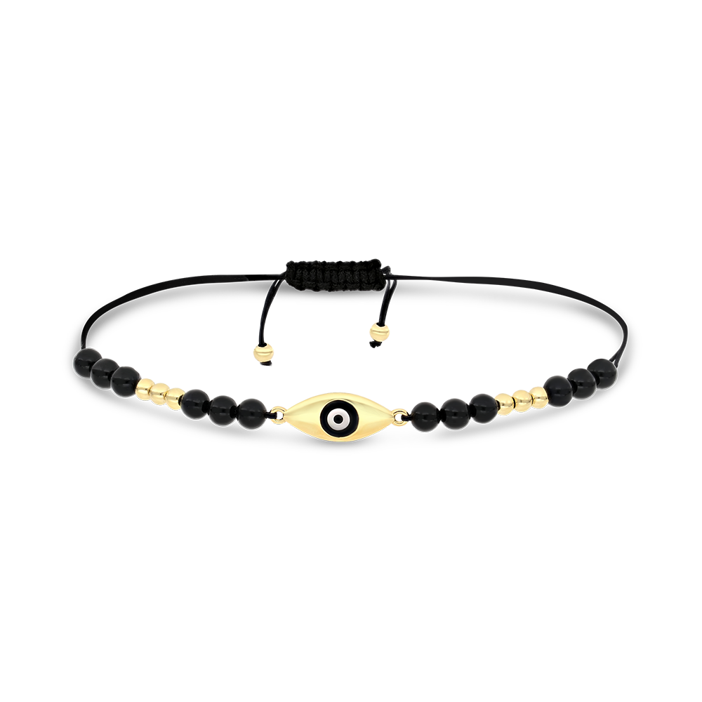 Sterling Silver 925 Bracelet Rhodium Plated Embedded With ONYX