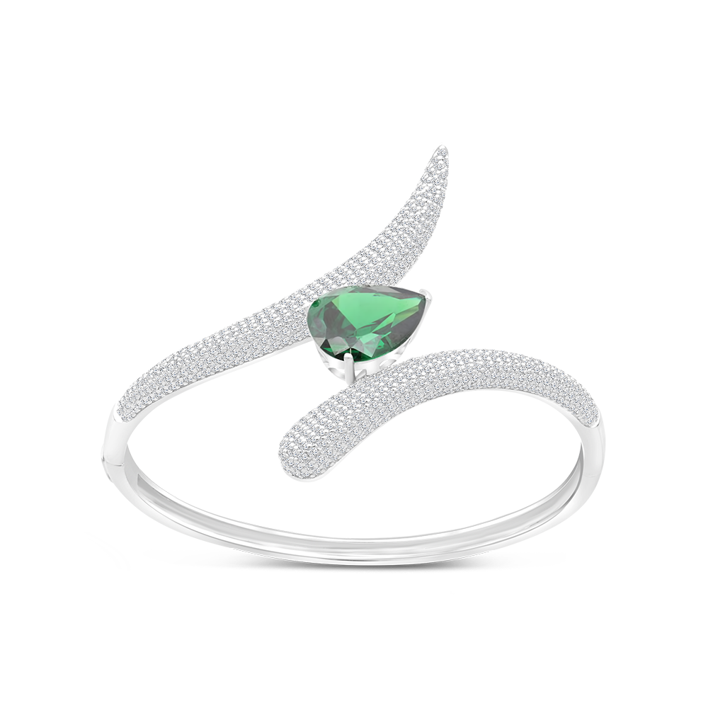 Sterling Silver 925 Bangle Rhodium Plated Embedded With Emerald