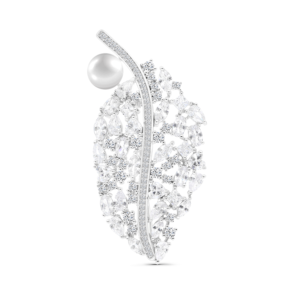 Sterling Silver 925 Brooch Rhodium Plated Natural White Pearl
