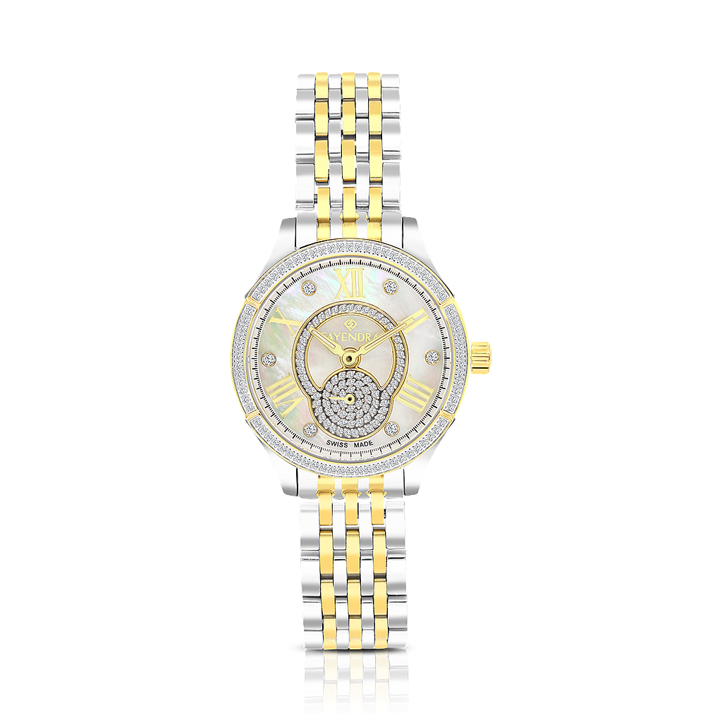 Stainless Steel 316L Watch,Rhodium,Gold Plated,MOP Dial,For Women