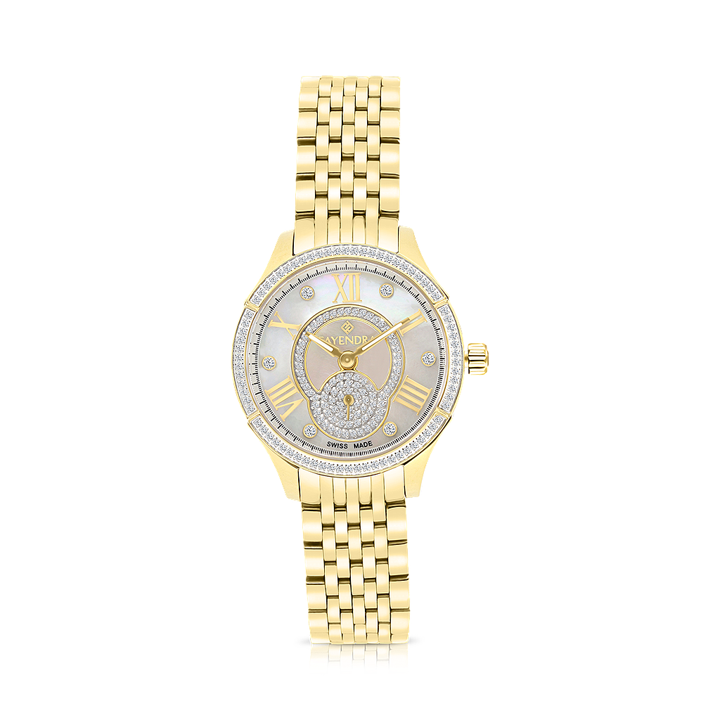 Stainless Steel 316L Watch, Gold Plated,Embedded With Natural Diamonds, MOP Dial ,For Women