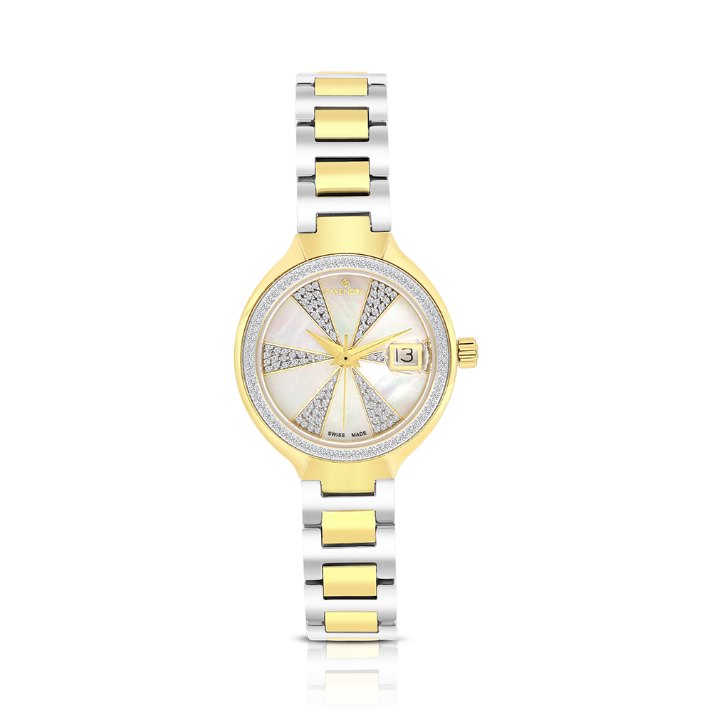 Stainless Steel 316L Watch,Rhodium,Gold Plated,For Women,MOP Dial