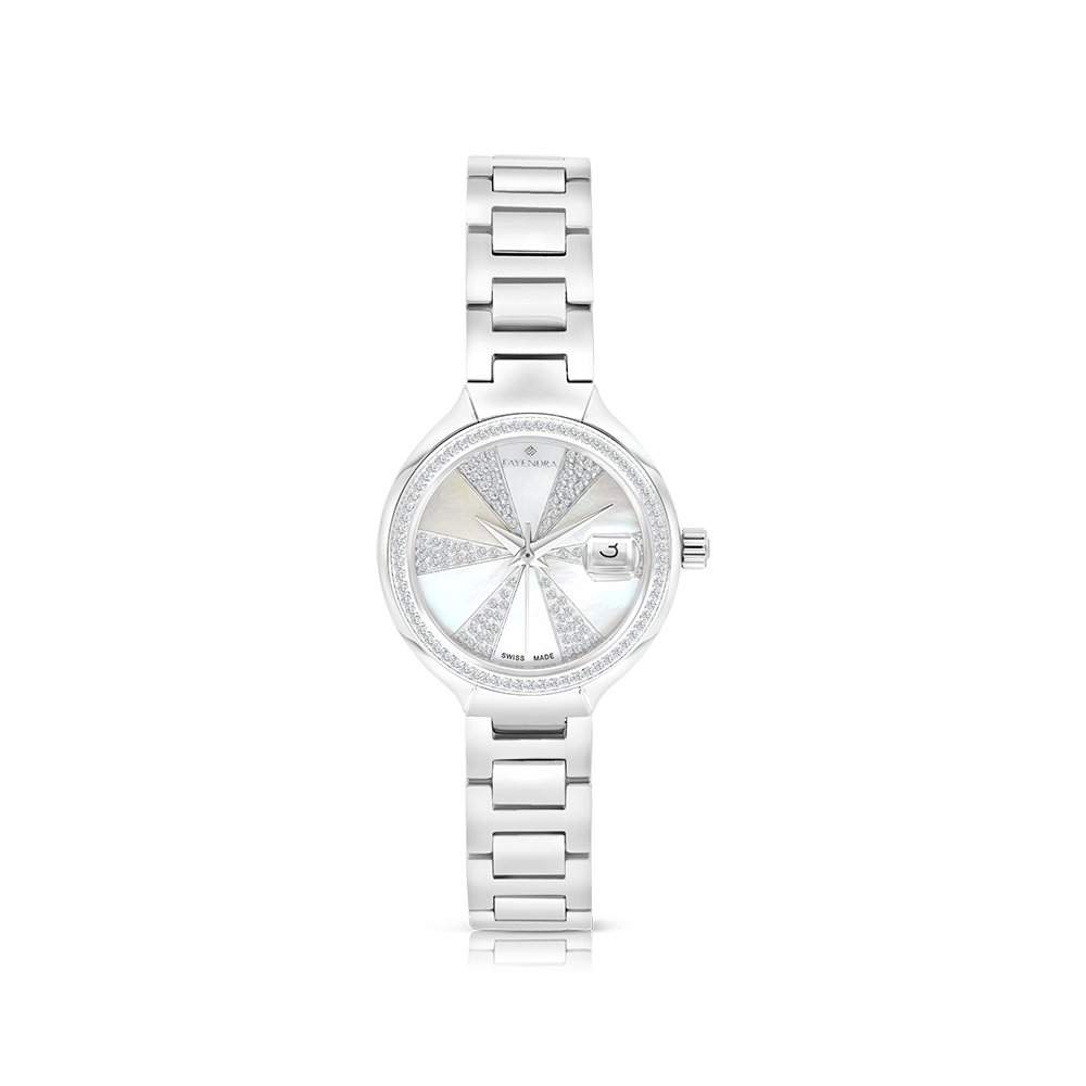 Stainless Steel 316L Watch,Rhodium Plated,Natural Diamonds,MOP Dial