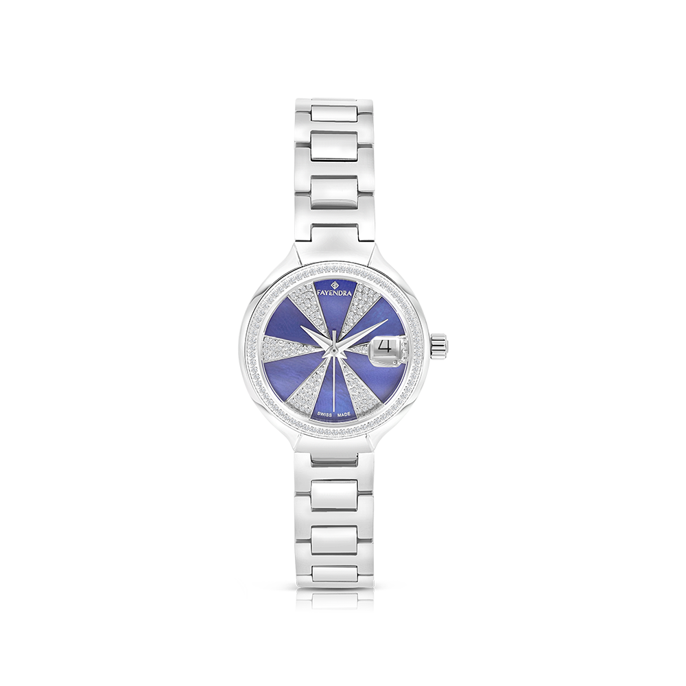 Stainless Steel 316L Watch, Rhodium Plated,Embedded With Natural Diamonds, Blue Dial