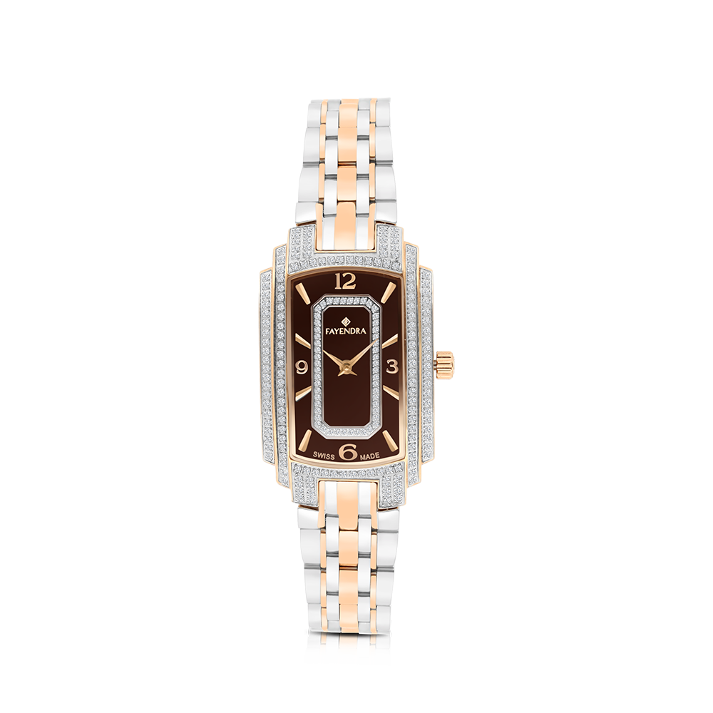 Stainless Steel 316L Watch, Rhodium And Rose Plated, For Women , Brown Dial