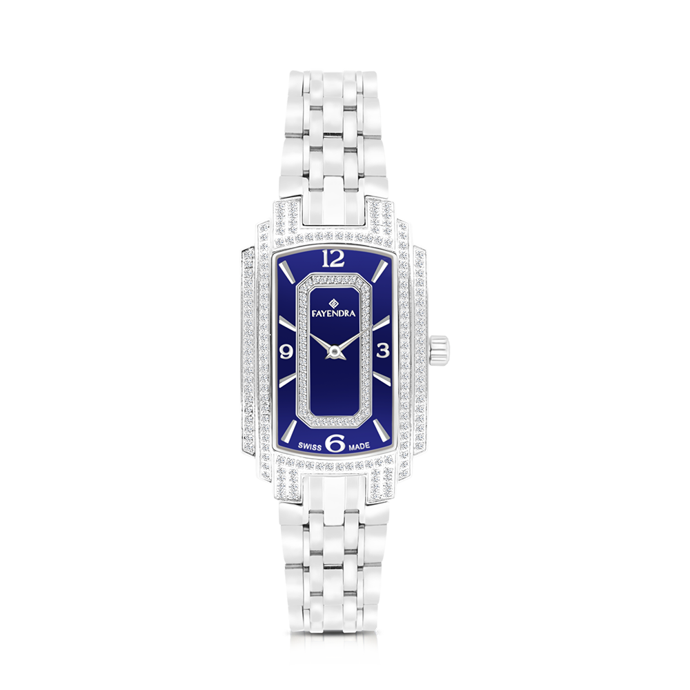 Stainless Steel 316L Watch,Rhodium Plated,For Women,Natural Diamonds,Blue Dial