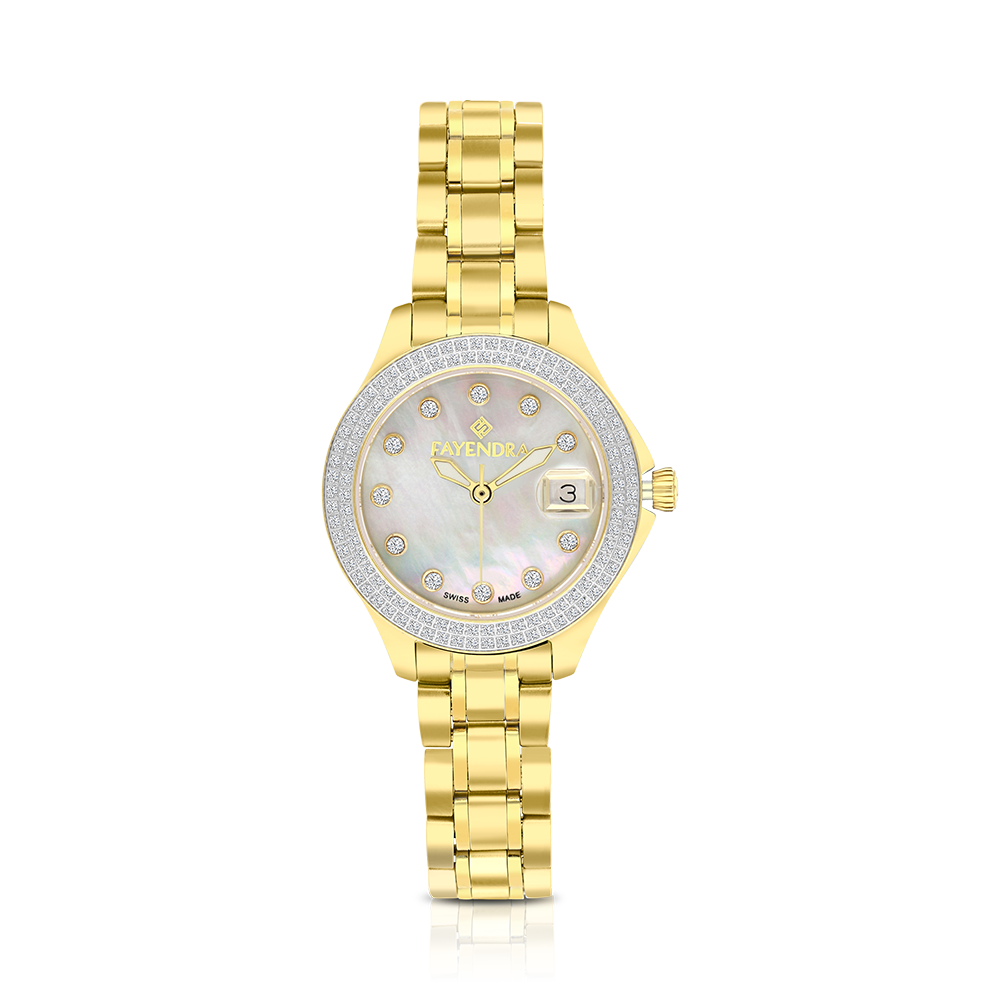 Stainless Steel 316L Watch Gold Plated MOP Dial For Women 100