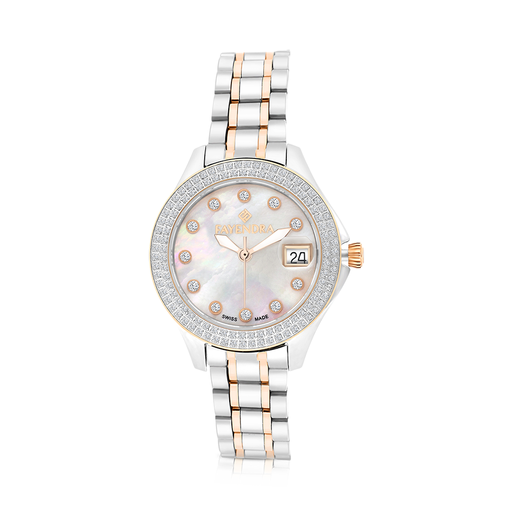 Stainless Steel 316L Watch,Rhodium,Rose Plated,Natural Diamonds,MOP Dial,For Women