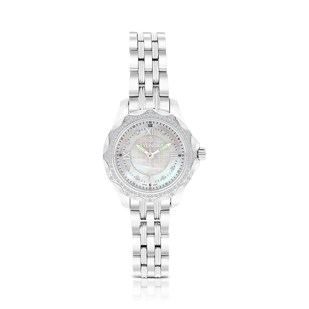 Stainless Steel 316L Watch Rhodium Plated MOP Dial For Women88
