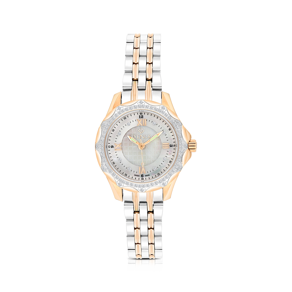 Stainless Steel 316L Watch, Rhodium,Rose Plated, Natural Diamonds, MOP Dial, For Women