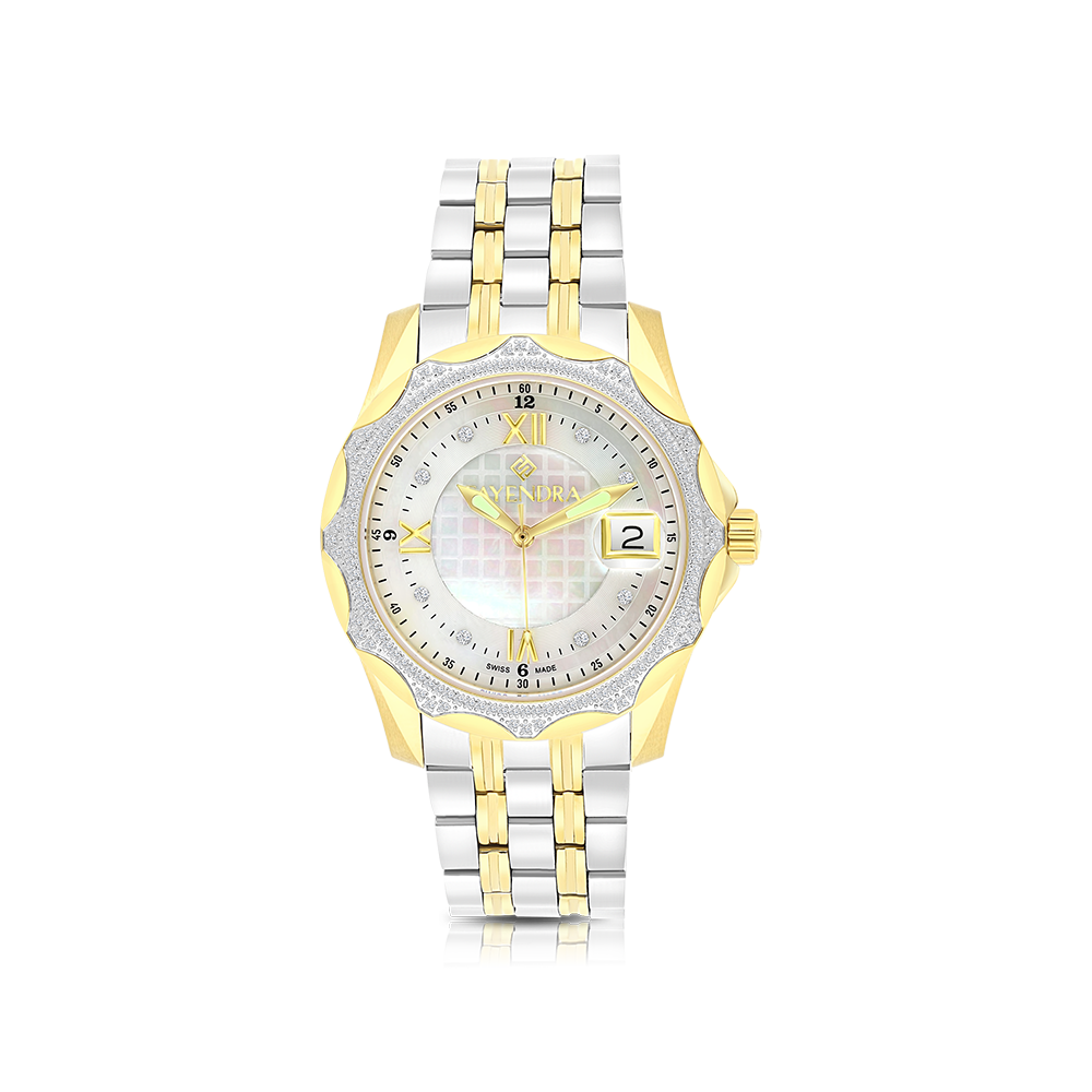 Stainless Steel 316L Watch, Rhodium And Gold Plated, MOP Dial ,For Men