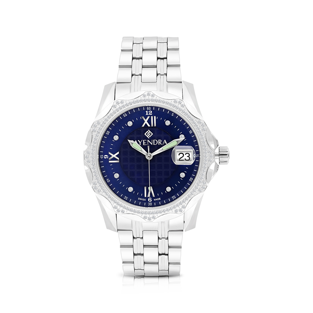 Stainless Steel 316L Watch,Rhodium Plated,Natural Diamonds,Blue Dial,For Men