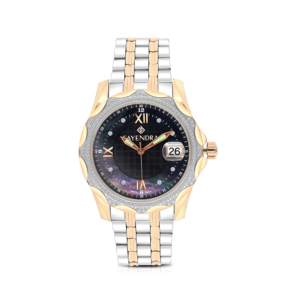 Stainless Steel 316L Watch,Rhodium,Rose Plated,Natural Diamonds,Black Dial,For Men