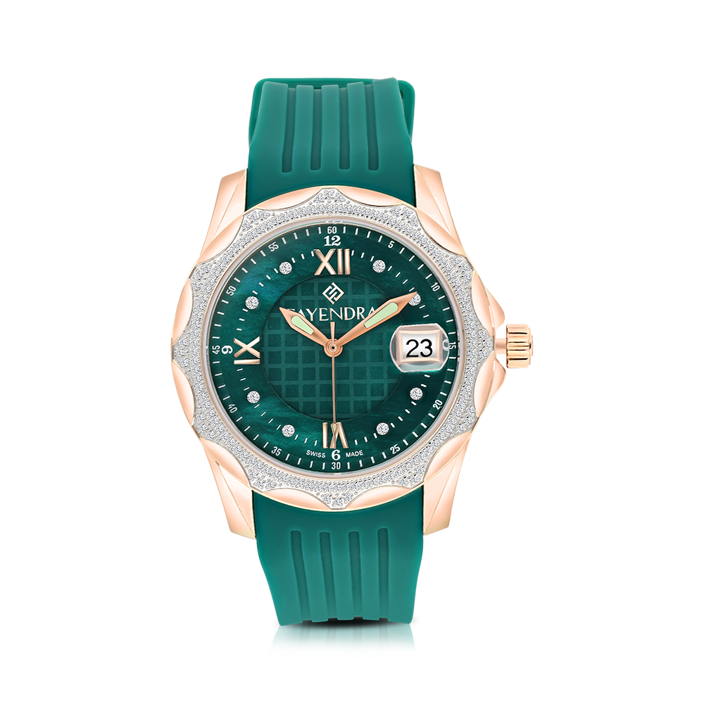 Stainless Steel 316L Watch Rhodium Plated Green Rubber Green Dial For Men