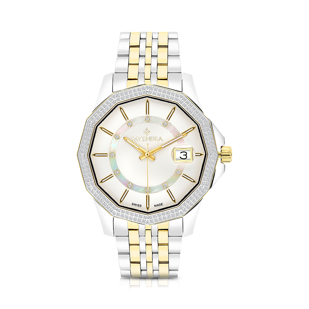 Stainless Steel 316L Watch,Rhodium,Gold Plated,MOP Dial,For Men