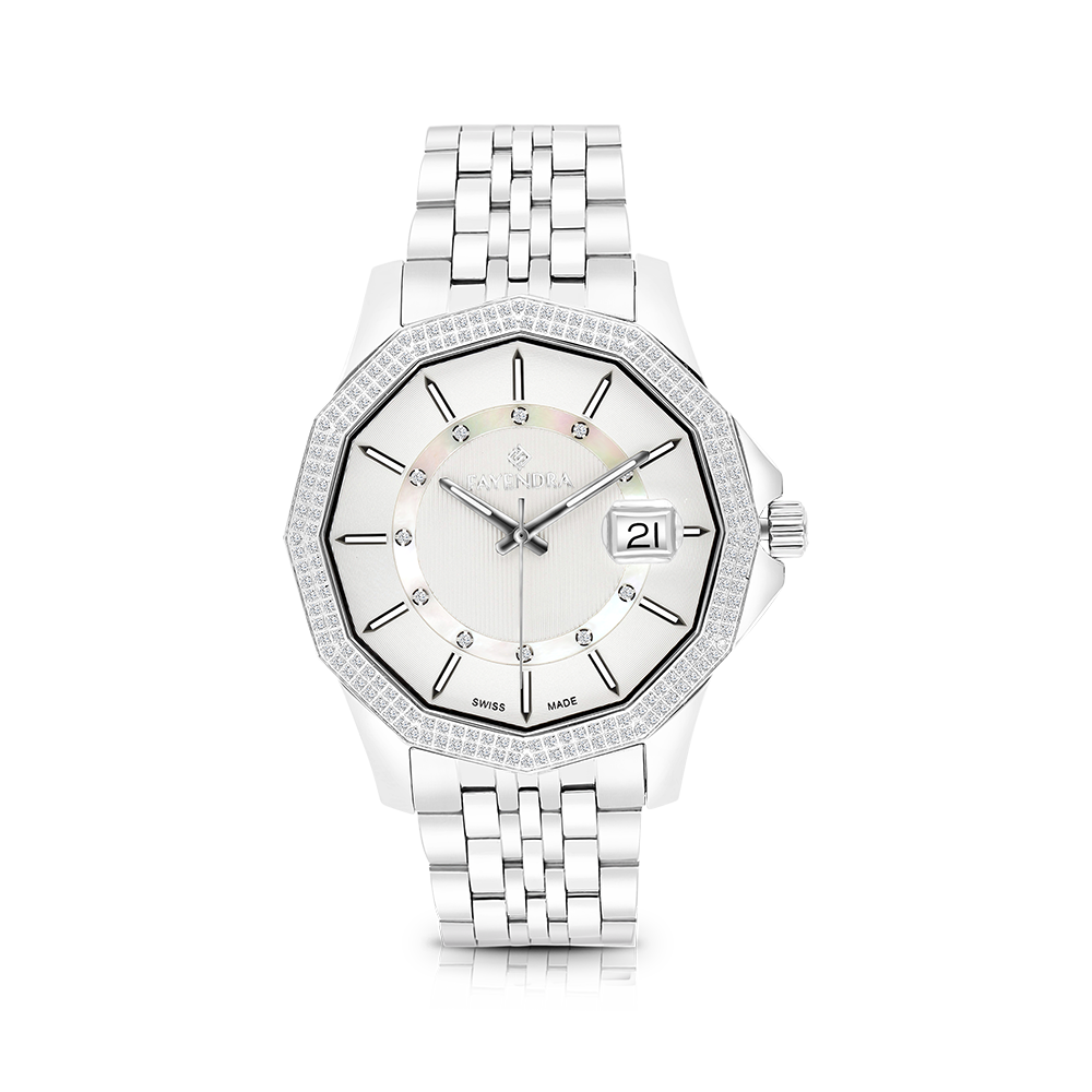 Stainless Steel 316L Watch,Rhodium Plated,Natural Diamonds,MOP Dial,For Men