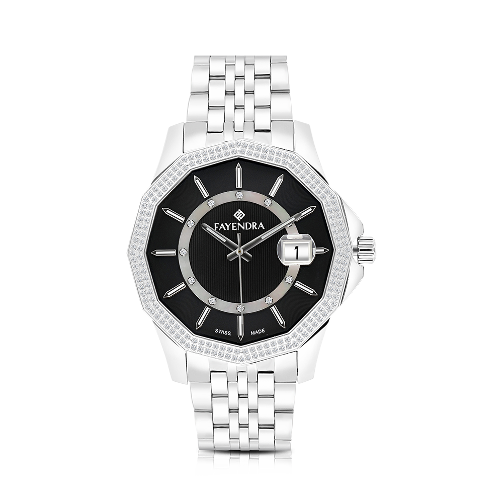 Stainless Steel 316L Watch,Rhodium Plated,Natural Diamonds,Black Dial,For Men