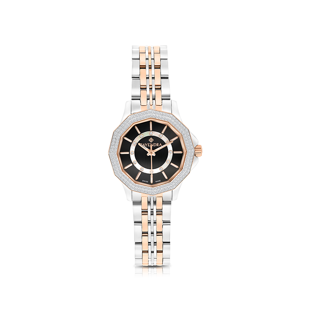 Stainless Steel 316L Watch,Rhodium,Rose Plated,For Women,Black Dial