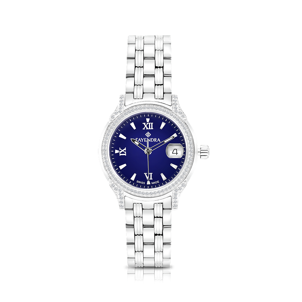 Stainless Steel 316L Watch Rhodium Plated Blue Dial For Women