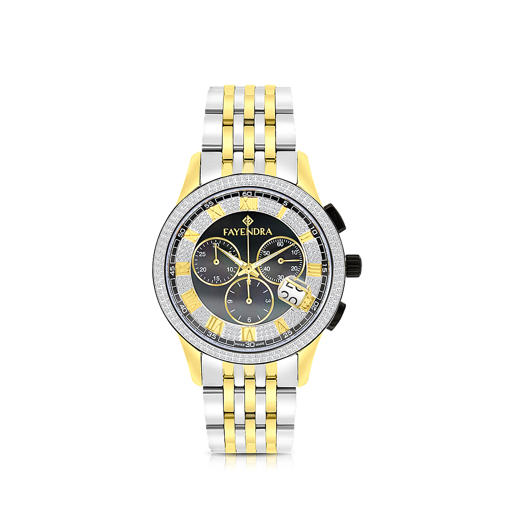Stainless Steel 316L Watch,Rhodium,Gold Plated,Black Dial,For Men