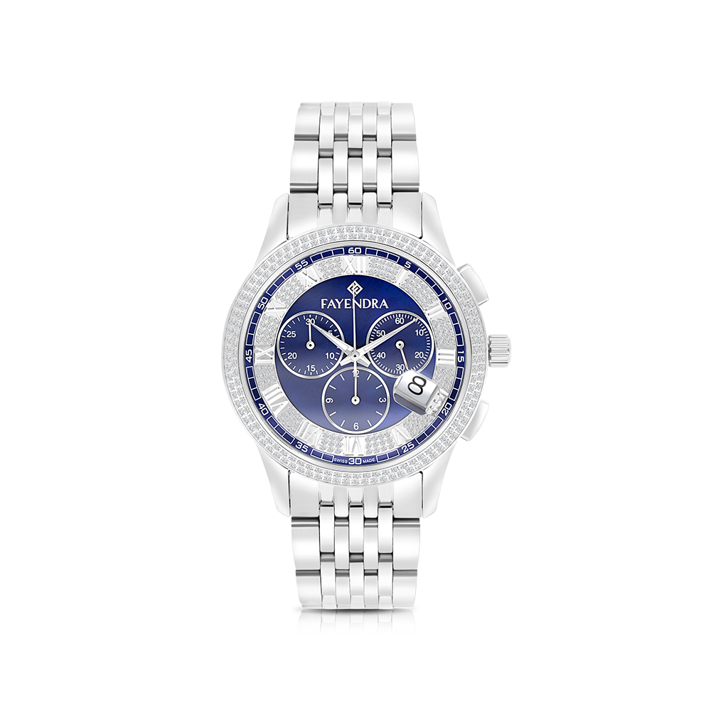 Stainless Steel 316L Watch Rhodium Plated, Blue Dial ,For Men