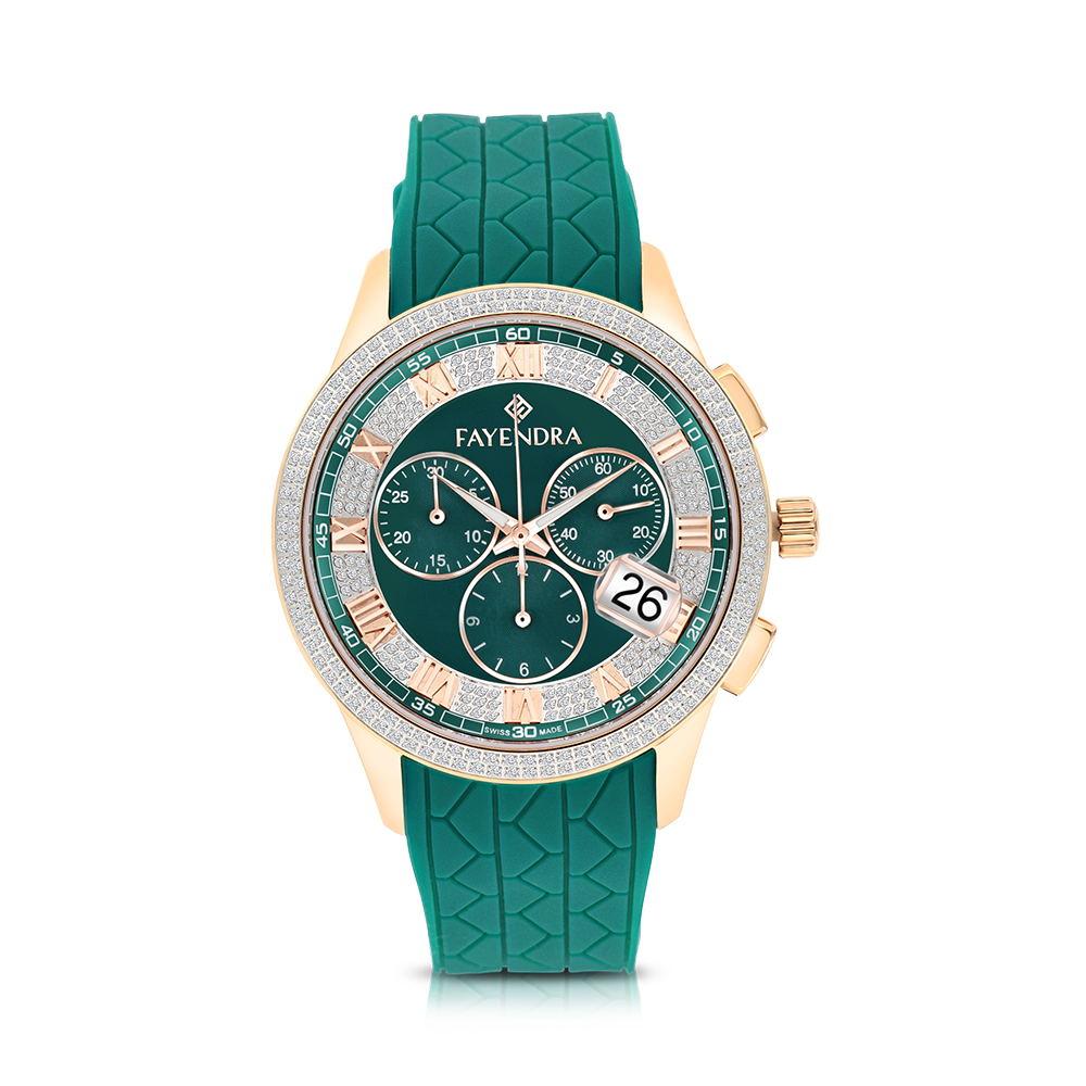 Stainless Steel 316L Watch Rose Gold Plated Green Rubber Green Dial For Men