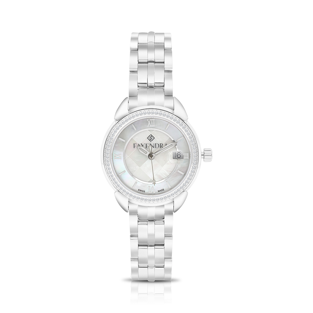 Stainless Steel 316L Watch Rhodium Plated MOP Dial For Women